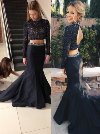 Two-pieces High-neck Black Long Sleeves Prom Dress with Beads
