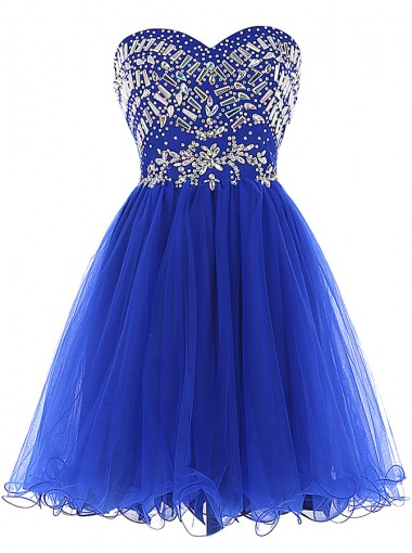 A-Line Sweetheart Short Royal Blue Dress with Rhinestone