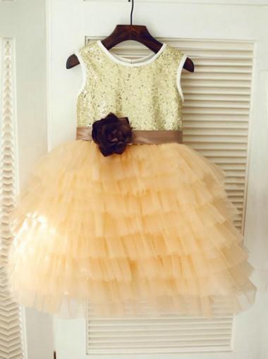 Gold Scoop Ball Gown Tulle Ruffles Flower Girl Dress