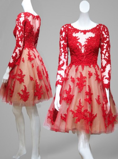 Simple-dress Elegant A-line Long Sleeve Red Tulle 2015 Homecoming Dresses/Party Dresses