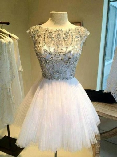 A-Line Bateau Cap Sleeves Short Ivory Tulle Homcoming Dress with Beading