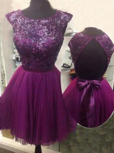 2015 Charming A-line Capped Backless Bow Tulle Sequin Homecoming Dress TUHD-7278