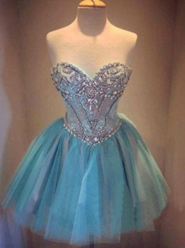 Hot-selling A-line Sweetheart Mini Tulle Cocktail Party/Homecoming Dress with Beading
