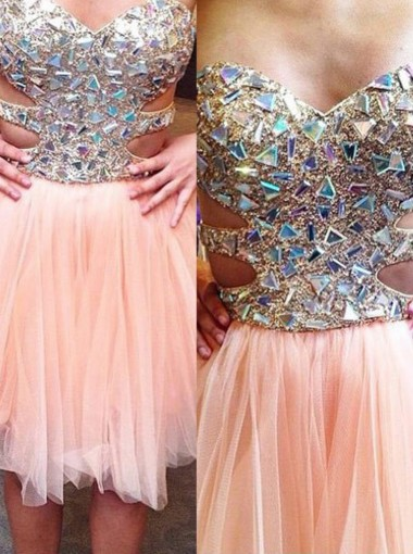 Hot-selling A-line Sweetheart Mini Tulle Beading Homecoming/Cocktail Dress