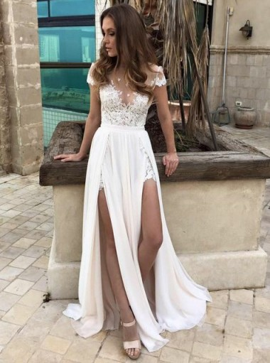 A-Line Illusion Neck Chiffon Beach Wedding Dress with Appliques Split