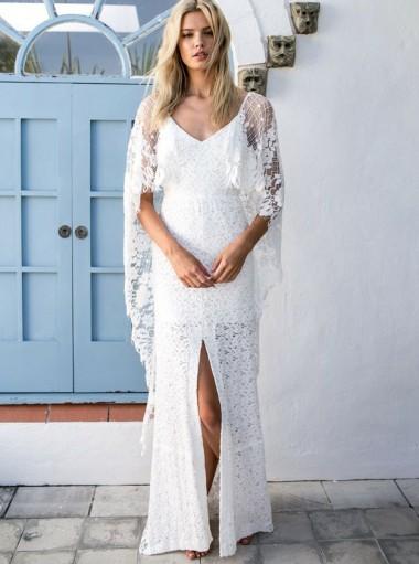 Sheath Wraps Backless Half Sleeve Lace Wedding Dress with Split