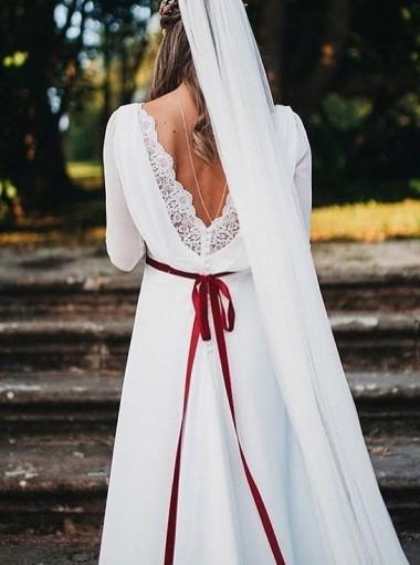 A-Line Bateau Chapel Train 3/4 Sleeves Wedding Dress with Lace Sash