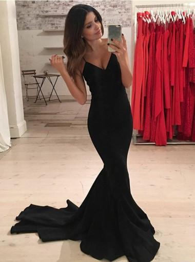 Mermaid Spaghetti Straps Sweep Train Black Elastic Satin Prom Dress