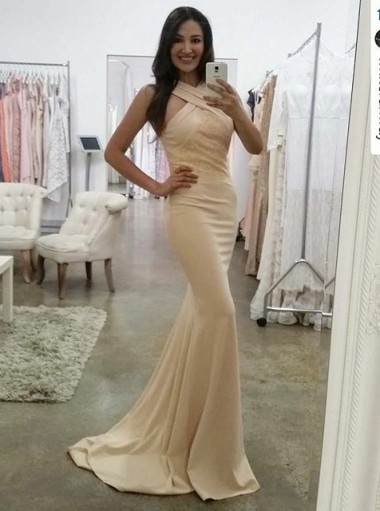 Mermaid V-Neck Sweep Train Beige Elastic Satin Prom Dress with Lace