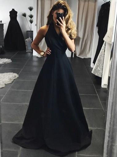 A-Line Halter Backless Sweep Train Black Satin Prom Dress