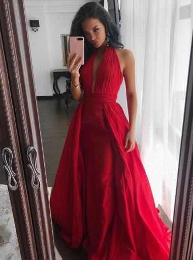 Sheath Halter Sleeveless Sweep Train Pleated Red Satin Prom Dress