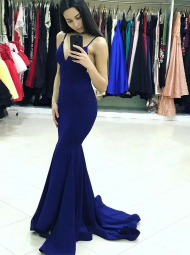 Mermaid Spaghetti Straps Backless Sweep Train Dark Blue Prom Dress