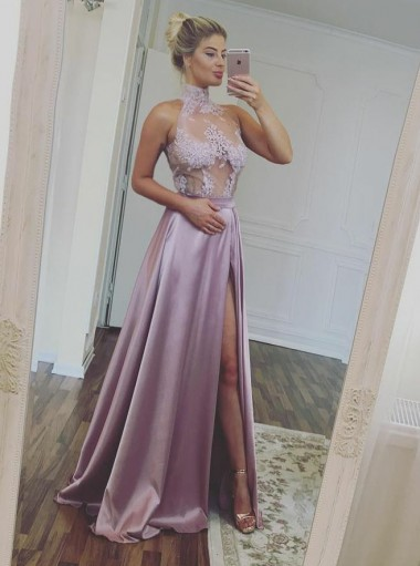 A-Line High Neck Illusion Top Lilac Satin Prom Dress with Appliques Split