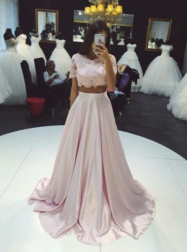 Two Piece Round Neck Short Sleeves Pearl Pink Appliques Prom Dress