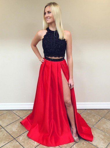 Two Piece Round Neck Red Split Satin Prom Dress with Lace