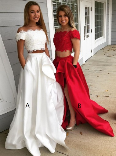 Two Piece Off-the-Shoulder White Split Satin Prom Dress with Pockets