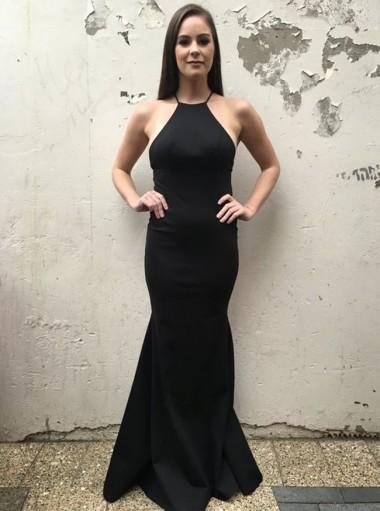 Mermaid Spaghetti Straps Floor-Length Backless Black Prom Dress