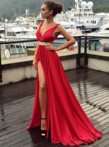 Dramatic A-line V-neck Sleeveless Split Sweep Train Red Prom Evening Dress with Belt