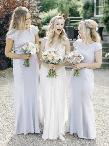 Sheath Bateau Cap Sleeves Light Gray Bridesmaid Dress with Lace