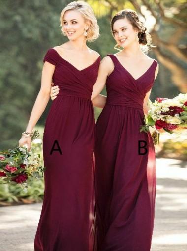 Sheath Off-the-Shoulder Floor-Length Grape Chiffon Bridesmaid Dress