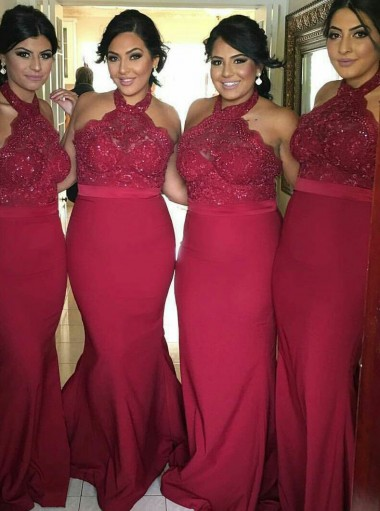 Mermaid Halter Red Satin Bridesmaid Dress with Lace Beading