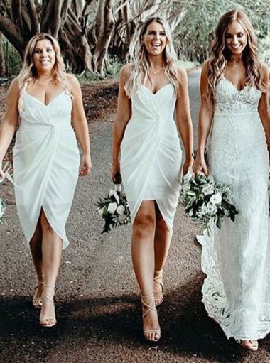 Sheath Spaghetti Straps White Chiffon Bridesmaid Dress