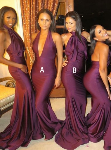 Mermaid V-Neck Sweep Train Burgundy Satin Bridesmaid Dress
