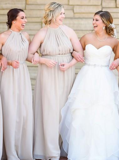 A-Line Halter Pleats Grey Chiffon Bridesmaid Dress with Beading