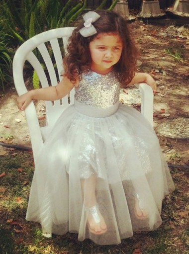 A-Line Jewel Tea-Length Silver Tulle Sequined Flower Girl Dress