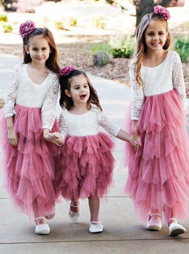 A-Line Round Neck Hot Pink Tulle Flower Girl Dress with Lace