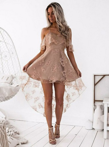 A-Line Spaghetti Straps Blush Lace Homecoming Dress with Ruffles