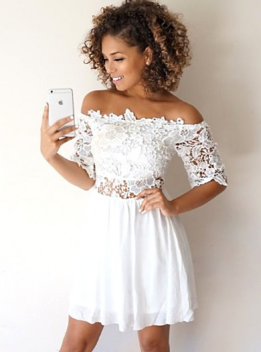 A Line Off The Shoulder Half Sleeves White Homecoming