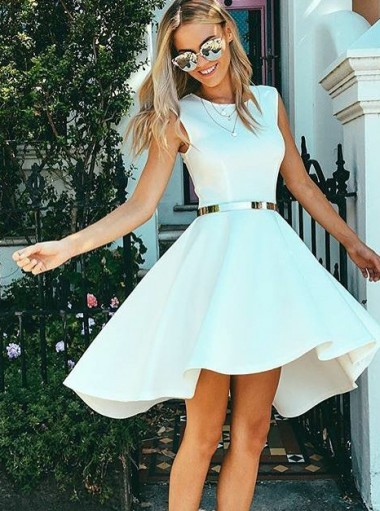 High Low Bateau Sleeveless White Satin Homecoming Dress