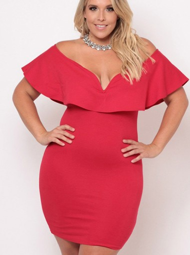 Off the Shoulder Ruffles Plus Size Red Bodycon Dress
