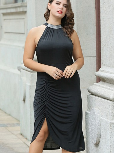 Asymmetrical Ruched Round Neck Plus Size Black Dress