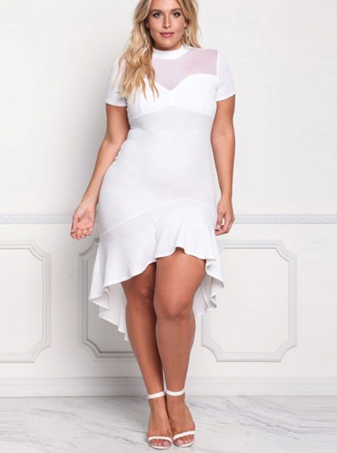High Low Red Round Neck Plus Size Bodycon White Dress