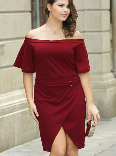 Asymmetrical Off the Shoulder Plus Size Burgundy Dress