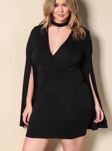 Asymmetrical Deep V-Neck Plus Size Black Cape Dress