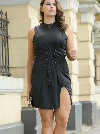 Waist Lace-Up Round Neck Plus Size Sheath Black Dress