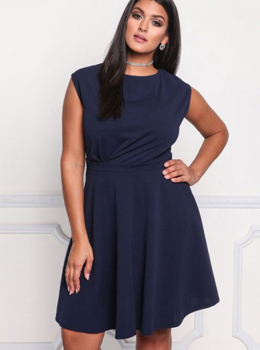 A-Line Round Neck Sleeveless Plus Size Navy Blue Dress