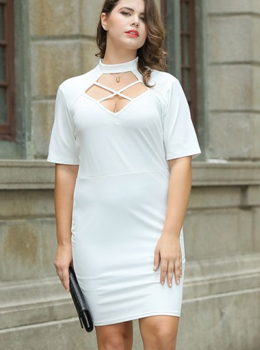 Keyhole Round Neck Short Sleeves Plus Size White Dress