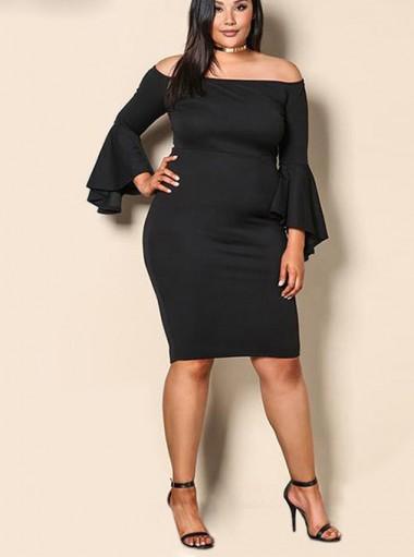 Flare Sleeves Off the Shoulder Plus Size Black Dress