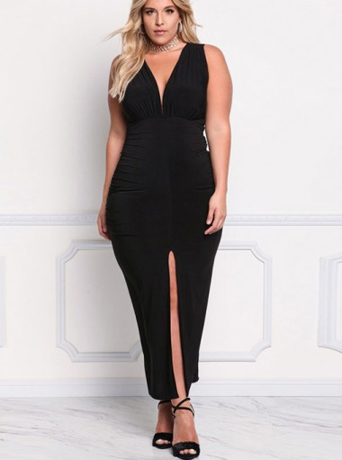 Split Front Ruched Deep V-Neck Plus Size Long Black Dress
