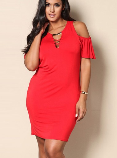 Cold Shoulder Hollow Plus Size Short Red Dress