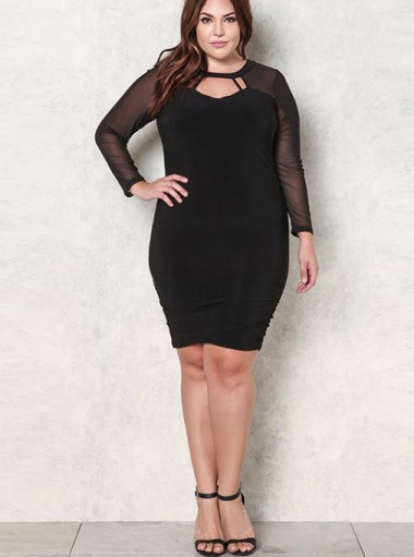 Sheath Round Neck Long Sleeve Plus Size Black Dress