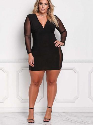 Deep V-Neck Long Sleeves Bodycon Plus Size Black Dress