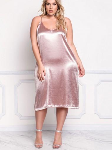 Spaghetti Straps Sleeveless Plus Size Pink Slip Dress