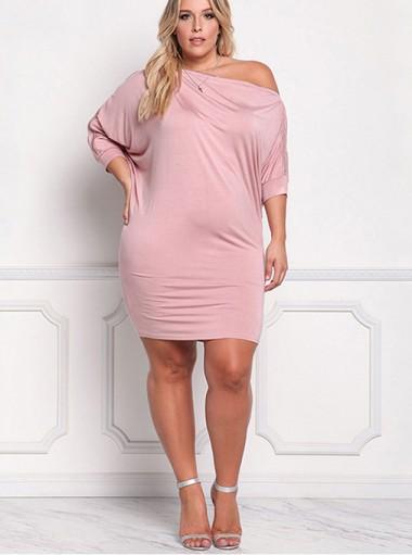 Oblique Neck Zip 3/4 Sleeves Plus Size Pink Dress