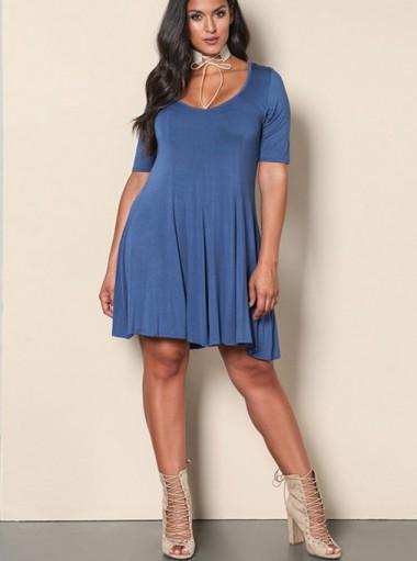 Short Sleeves Round Neck A-Line Plus Size Dark Blue Dress