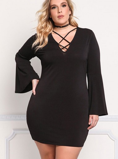 Lace-Up Front Long Sleeves Plus Size Black Dress